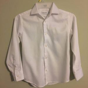 Calvin Klein Kids White Sateen Button Down Shirt